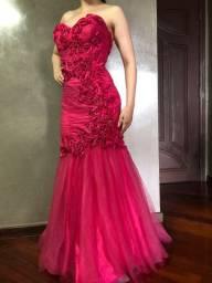 Vestido festa de luxo - rosa