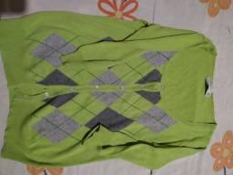 Cardigã Zara manga média xadrez cor verde
