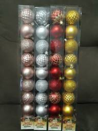 4 tubos com bolas de natal n.5 com 9 pçs cada