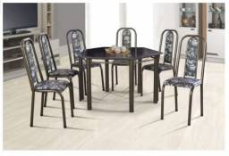 Mesa sextavada preta, tampa de granito com 6 cadeiras