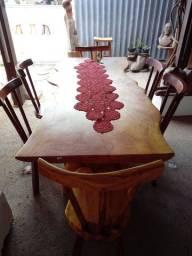Mesa 1.80m x 75cm c/ 6 cadeiras de Jaqueira