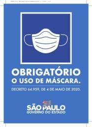 Placa uso obrigatório de máscara oficial estado de São Paulo