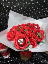 Buquê de rosas com bombom