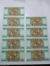 9 Cédulas Em Série 428 A 436 Antigas 200 Cruzeiros