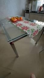 mesa vidro cromada 6 cadeiras