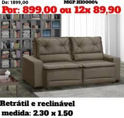 Sofa Retratil e Reclinavel 2,30-Sofa Novo - Sofa Barato - Sofa em Suede -
