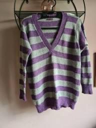 Blusa Suéter alongado tricô Check List
