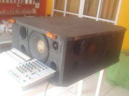 Caixa de som + modulo + mesa de som