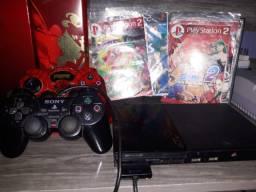 Título do anúncio: Vídeo Game Playstation 2 + 2 controles + jogos