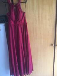 Vestido de festa vermelho bordô
