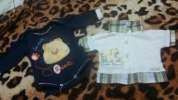 Macacão e camisa social menino R $25,00