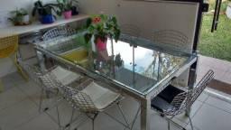 Mesa inox com tampa de vidro