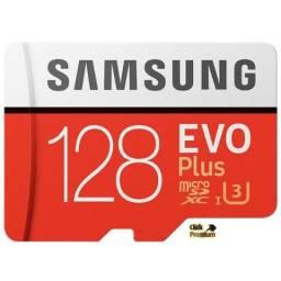 Cartão de Memória 128 GB Micro SD Samsung Evo Plus - Classe 10 - 100 Mb/s 4K + 3 Brindes
