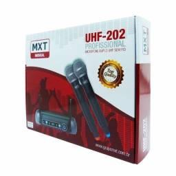 Microfone Sem Fio Duplo MXT, Modelo UHF 202