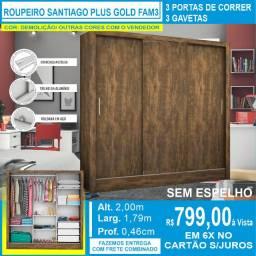 Guarda Roupas Santiago Plus Gold Fam3 Brancosem espelho