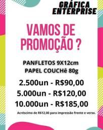 Panfletos tamanho 9x12cm (Mega promoção)