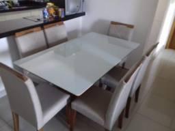 Sala bordou mesa de jantar retangular nova completa
