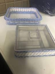 Kit 7 peças Quarto Bebê (Higiene e Decoração) de Vime Azul