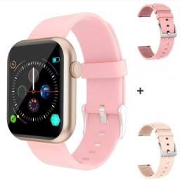 Relógio Digital Smartwatch COLMI P9 rosa + 2 pulseiras adicionais