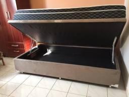 Conjunto Cama Box Bau Sonata Spling Blek solteiro 88x188 Melhor Preço Confira