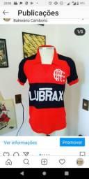 Camisa de 1980 de época a fabricação Flamengo de linho