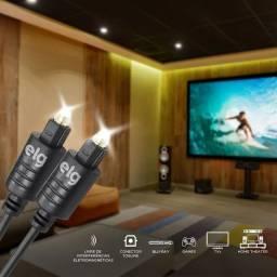Cabo Óptico 3 Metros com Conectores Toslink para Áudio Digital - T5018HD Preto