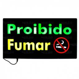 Placa Painel Luminosa Led - Proibido Fumar 49 CM X 24 CM