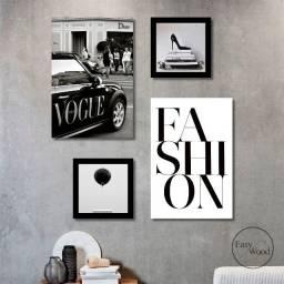 Quadros Decorativos Kit 04 Peças Fashion Vogue Preto E Branco Para Sala Mdf 3mm