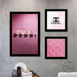 Quadros Decorativos Kit 03 Peças Gucci Chanel Louis Vuitton Rosa Para Sala Quarto Mdf 3mm