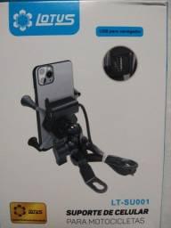Suporte celular com carregador p motos