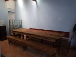 Mesa Rústica de madeira 3 metros de comprimento por 1 Metro de largura