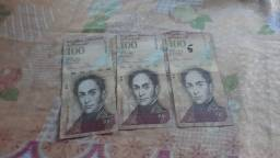 Vendo 3 notas de 100 bolivares