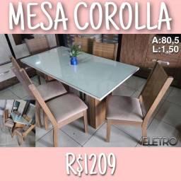 MESA DE JANTAR COROLLA / MESA COROLLA (06 CADEIRAS-TAMPO COM VIDRO LACKEADO)