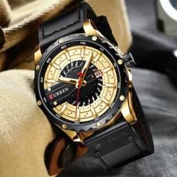 Relógio curren, masculino, pulseira de couro, tela vidro hardlex fashion