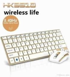 Teclado E Mouse Wireless S/ Fio Computador Notebook Hk-3910