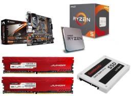 Kit B450 elite aorus + ryzen 5 2600 + 8gb de ram ddr4 + SSD 750gb, tudo novo zero!