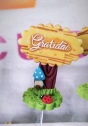 Placas com mensagens em biscuit para decorações em geral