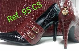 Sapatos feminino e masculino sofisticados e diferenciados de couro legítimo para revenda