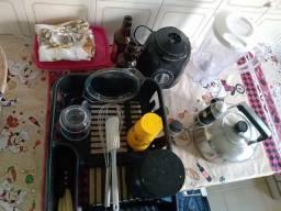 Kit utensílios cozinha chaleira inox