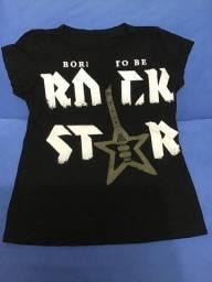 Camiseta feminina born to be rock star Infanto Juvenil