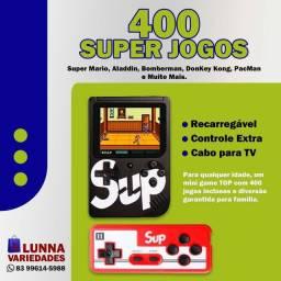 Mini Game Retrô - 400 Jogos na Memória, Recarregável, Com controle Extra