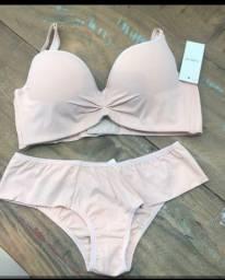 Conjunto lingerie bege M