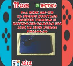 Ps4 slim 500 gb 13 jogos aceito trocas e cartão