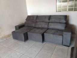 Sofá Retrátil e reclinável cinza