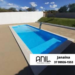 Título do anúncio: JA - Piscina com praia 8 metros ( 8 x 3,2 x 1,00/1,40m) Fabrica Anil Piscinas