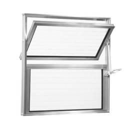 Título do anúncio: Basculante de Alumínio Vidro Canelado 40x40 cm Cinza - Aluvid