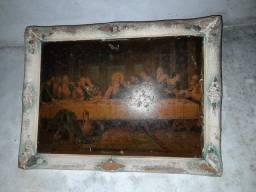 2 Quadros antigos de parede (antigos - históricos)<br>Coração de Jesus e Santa Ceia