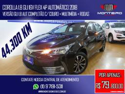 Toyota Corolla 1.8 GLI 16v Flex 4p Automático Completo C/ Multimídia Só 44.300 Km