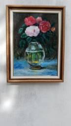 Pintura rosas, natureza morta.