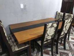 Mesa 6 lugares madeira e vidro com 6 cadeiras